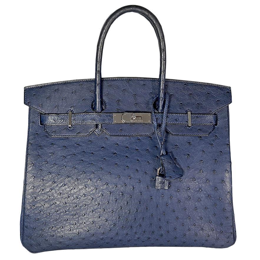 HERMES 35cm Ostrich Leather Birkin Bag Navy