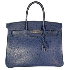 HERMES 35cm Ostrich Leather Birkin Bag Navy