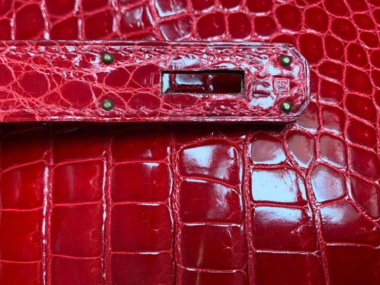 Hermes 35cm Red Birkin Bag For Sale 2