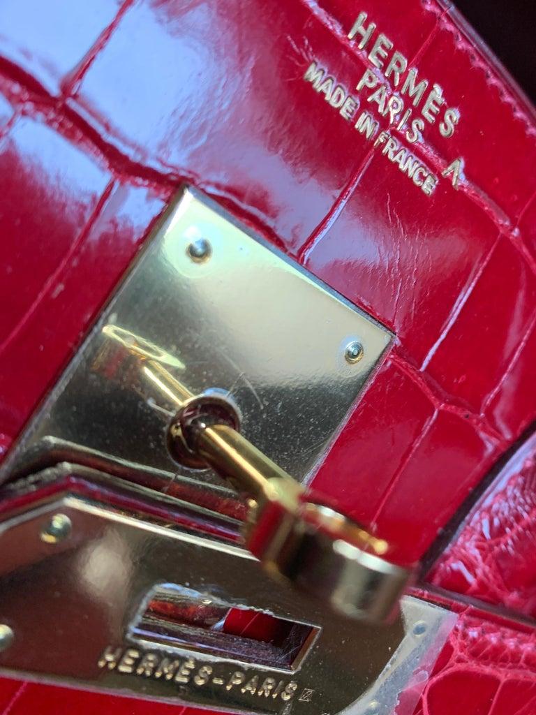 Hermes 35cm Red Birkin Bag For Sale 4