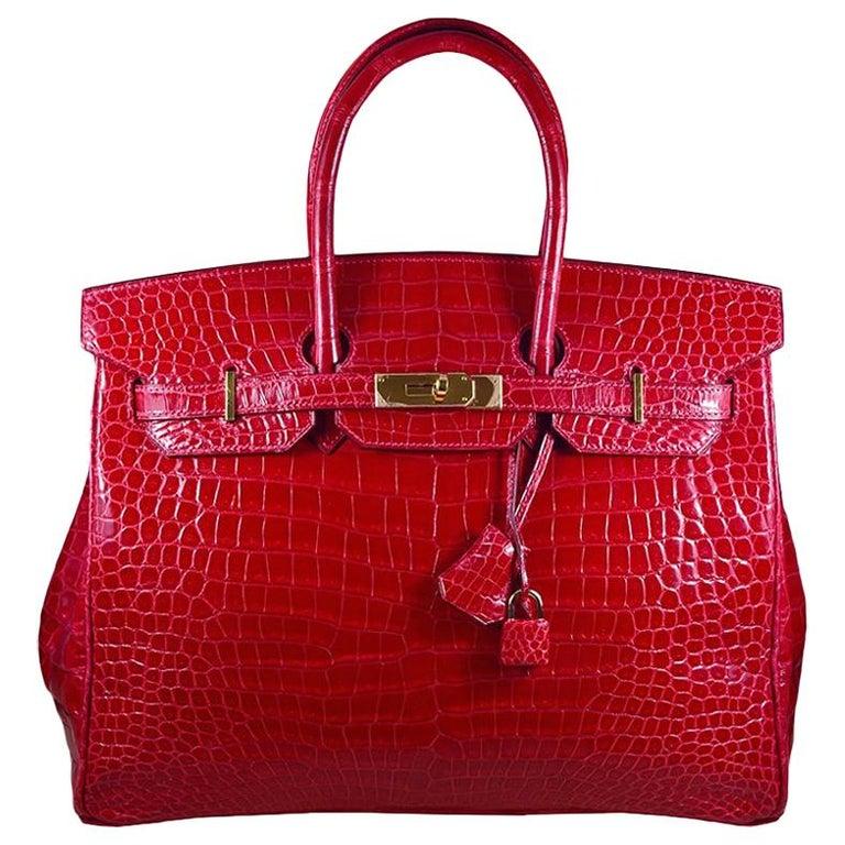 Hermes 35cm Red Birkin Bag For Sale