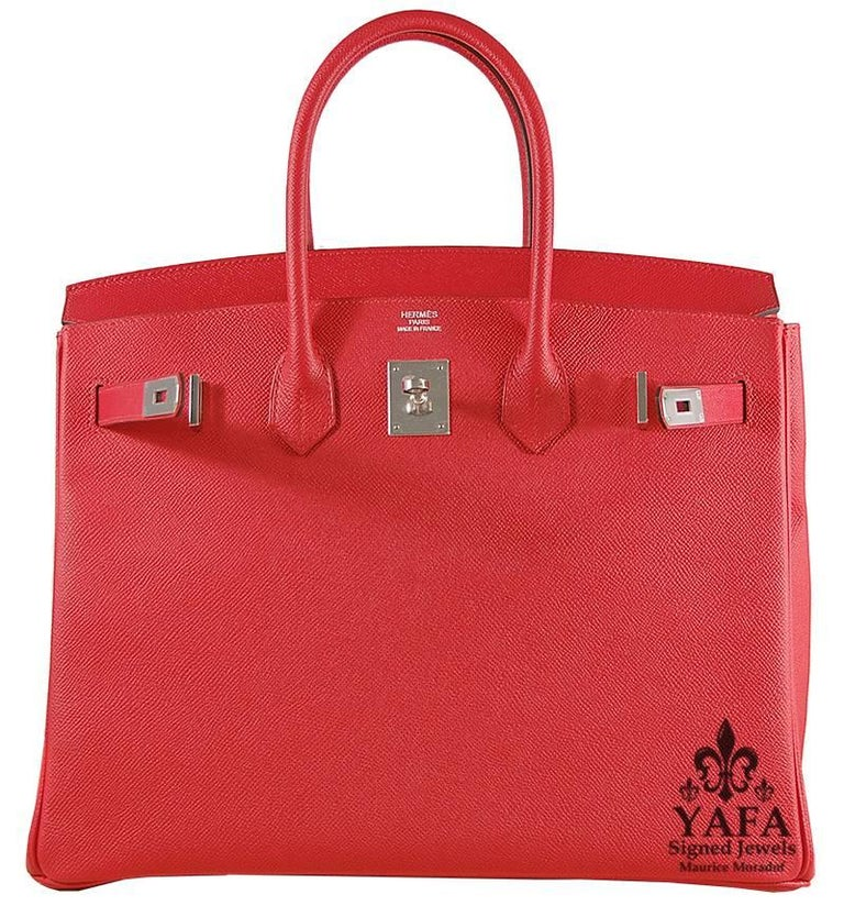 HERMES 35cm Rouge Casaque Birkin Bag with Silver Hardware 100% Authentic Hermes Birkin Bag COLOR: Rouge Casaque MATERIAL: Leather HARDWARE: Silver ORIGIN: France INCLUDES: Dustbag, lock, and key