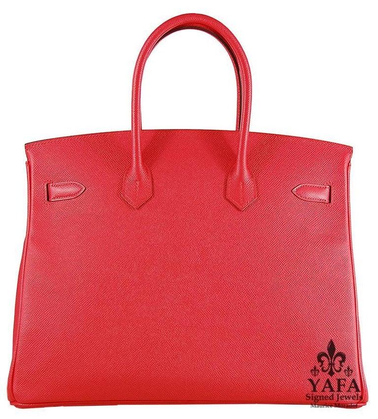 Red Hermes 35cm Rouge Casaque Birkin Bag For Sale