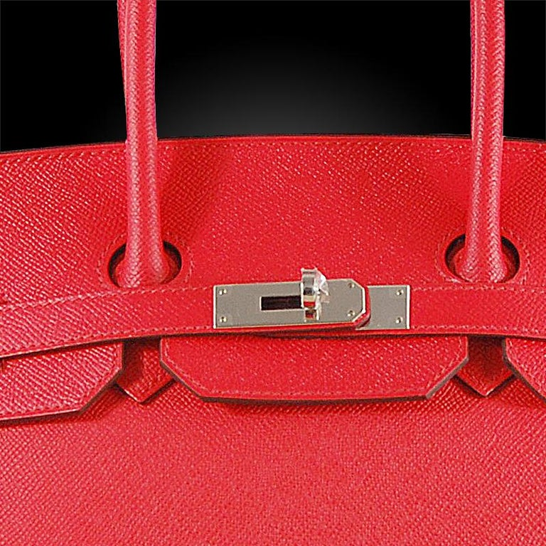 Hermes 35cm Rouge Casaque Birkin Bag In Good Condition For Sale In New York, NY