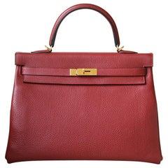 Hermès 35cm Rouge Grenat Clemence Gold H/W Kelly Retourne Bag