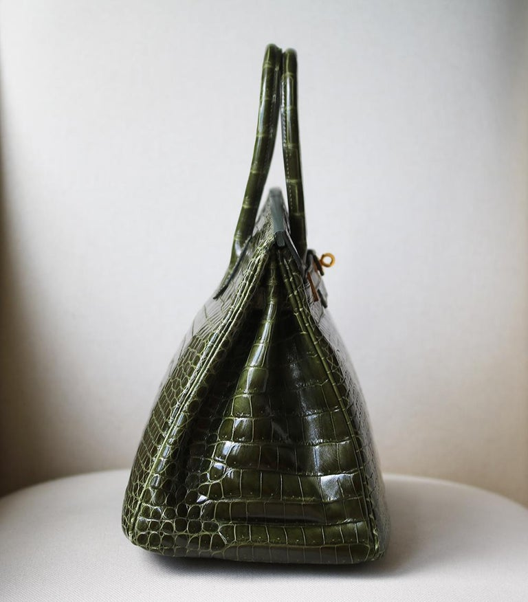 Hermès 35cm Vert Porosus Crocodile Gold H/W Birkin Bag In Excellent Condition For Sale In London, GB