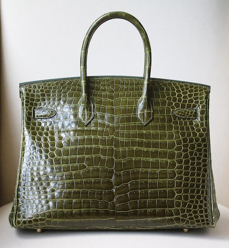 Women's Hermès 35cm Vert Porosus Crocodile Gold H/W Birkin Bag For Sale