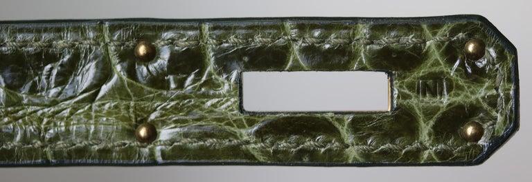 Hermès 35cm Vert Porosus Crocodile Gold H/W Birkin Bag For Sale 3