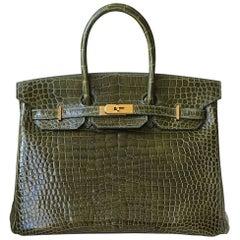Hermès 35cm Vert Porosus Crocodile Gold H/W Birkin Bag
