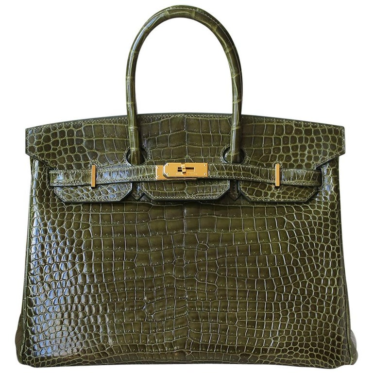Hermès 35cm Vert Porosus Crocodile Gold H/W Birkin Bag For Sale