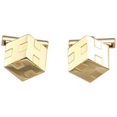 Hermes 3D Cube 18 Karat Gold Cufflinks