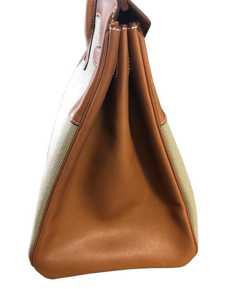 Brown HERMES 40cm Barenia Leather Birkin Bag For Sale