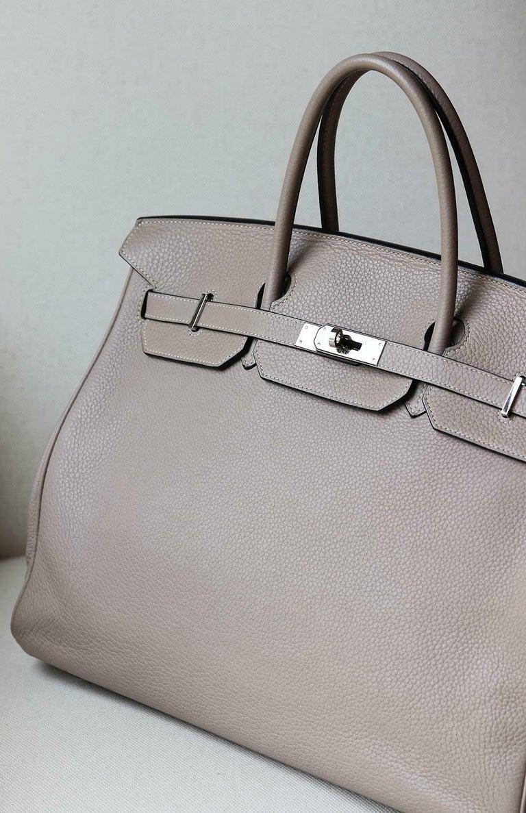 Gray Hermès 40CM Clemence Palladium H/W Birkin Bag For Sale