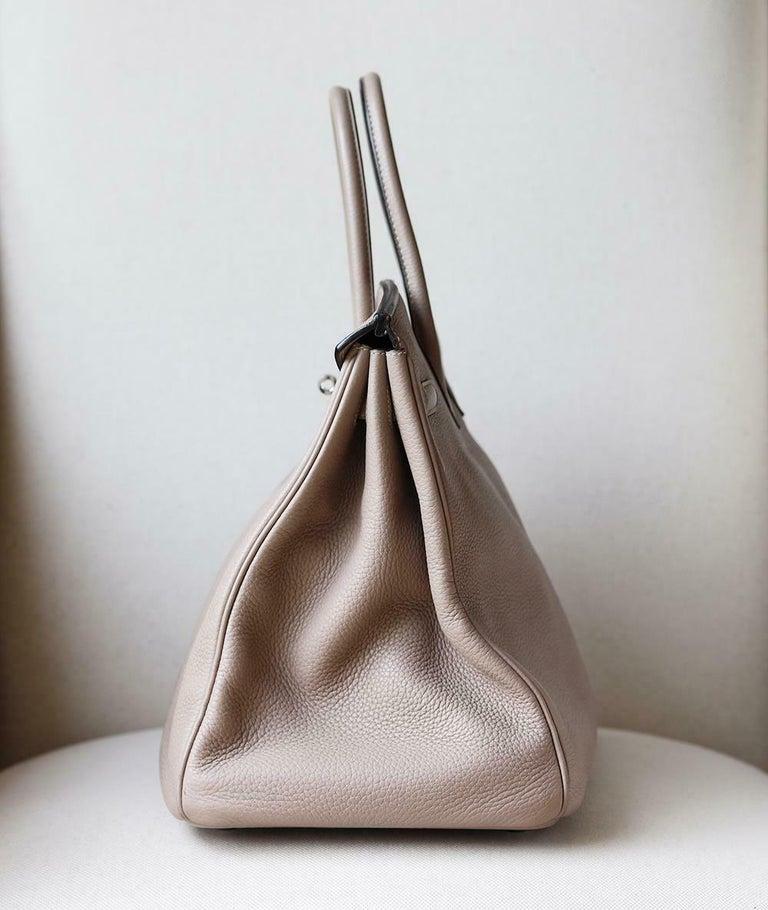 Women's or Men's Hermès 40CM Clemence Palladium H/W Birkin Bag For Sale