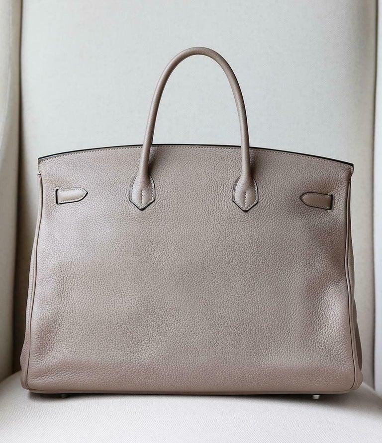 Hermès 40CM Clemence Palladium H/W Birkin Bag For Sale 1