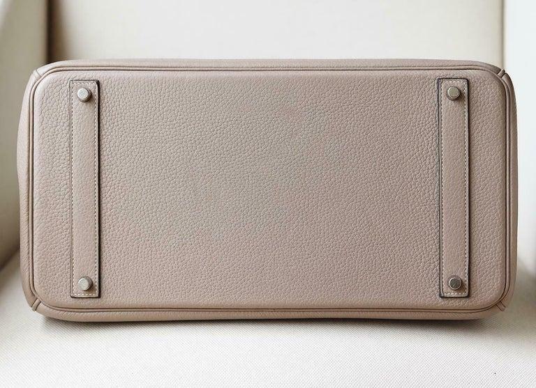 Hermès 40CM Clemence Palladium H/W Birkin Bag For Sale 2