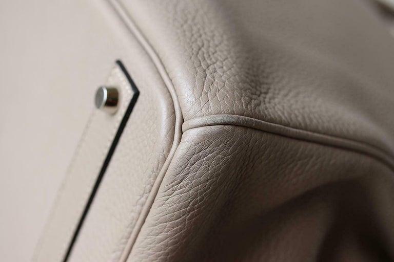Hermès 40CM Clemence Palladium H/W Birkin Bag For Sale 3