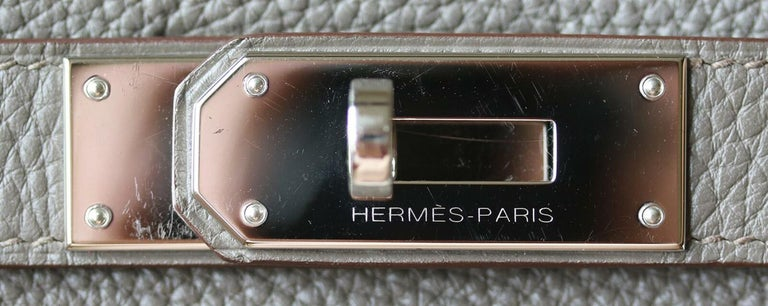 Hermès 40cm Etain Clemence Palladium H/W Kelly Retourne Bag For Sale 5
