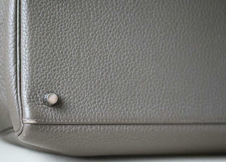 Hermès 40cm Etain Clemence Palladium H/W Kelly Retourne Bag For Sale 2
