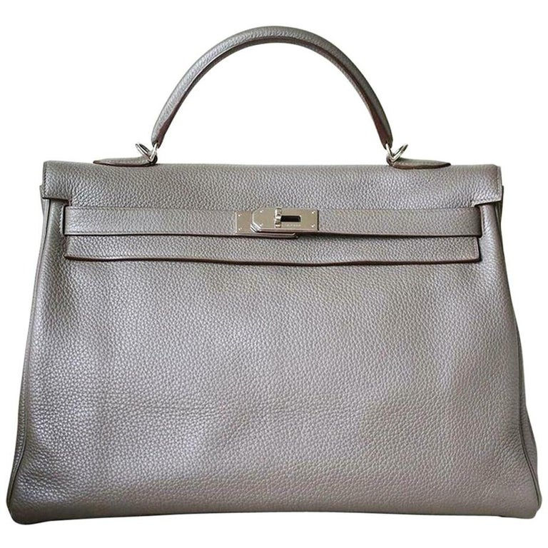 Hermès 40cm Etain Clemence Palladium H/W Kelly Retourne Bag For Sale