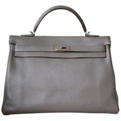 Hermès 40cm Etain Clemence Palladium H/W Kelly Retourne Bag