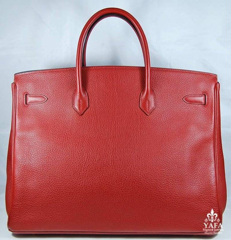 Hermes 40cm Red Birkin Bag For Sale 2