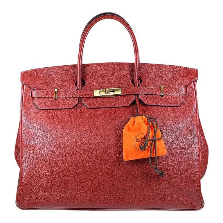 Hermes 40cm Red Birkin Bag For Sale
