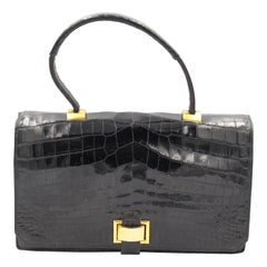 Hermes 40's  Vintage  Black Crocodile Vintage  Bag