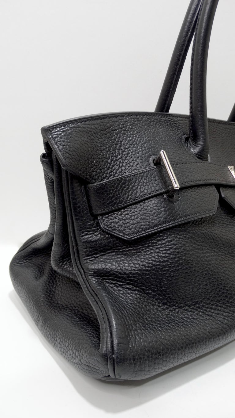 Hérmes 42cm Noir Clemence JPG Shoulder Birkin  For Sale 9