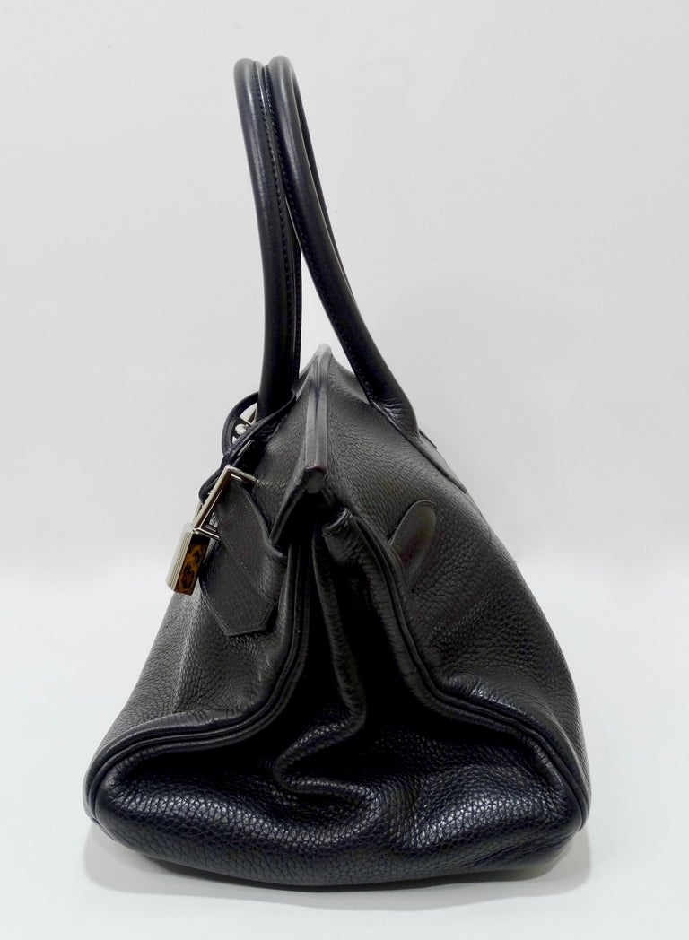 Hérmes 42cm Noir Clemence JPG Shoulder Birkin  For Sale 10