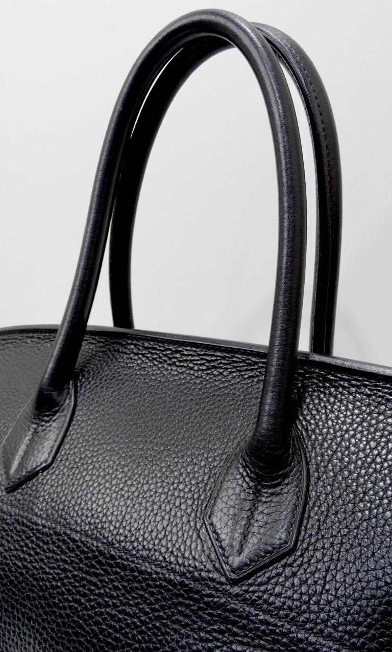 Hérmes 42cm Noir Clemence JPG Shoulder Birkin  In Excellent Condition For Sale In Scottsdale, AZ