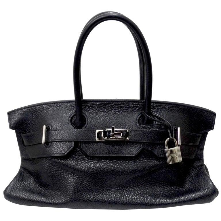 Hérmes 42cm Noir Clemence JPG Shoulder Birkin  For Sale