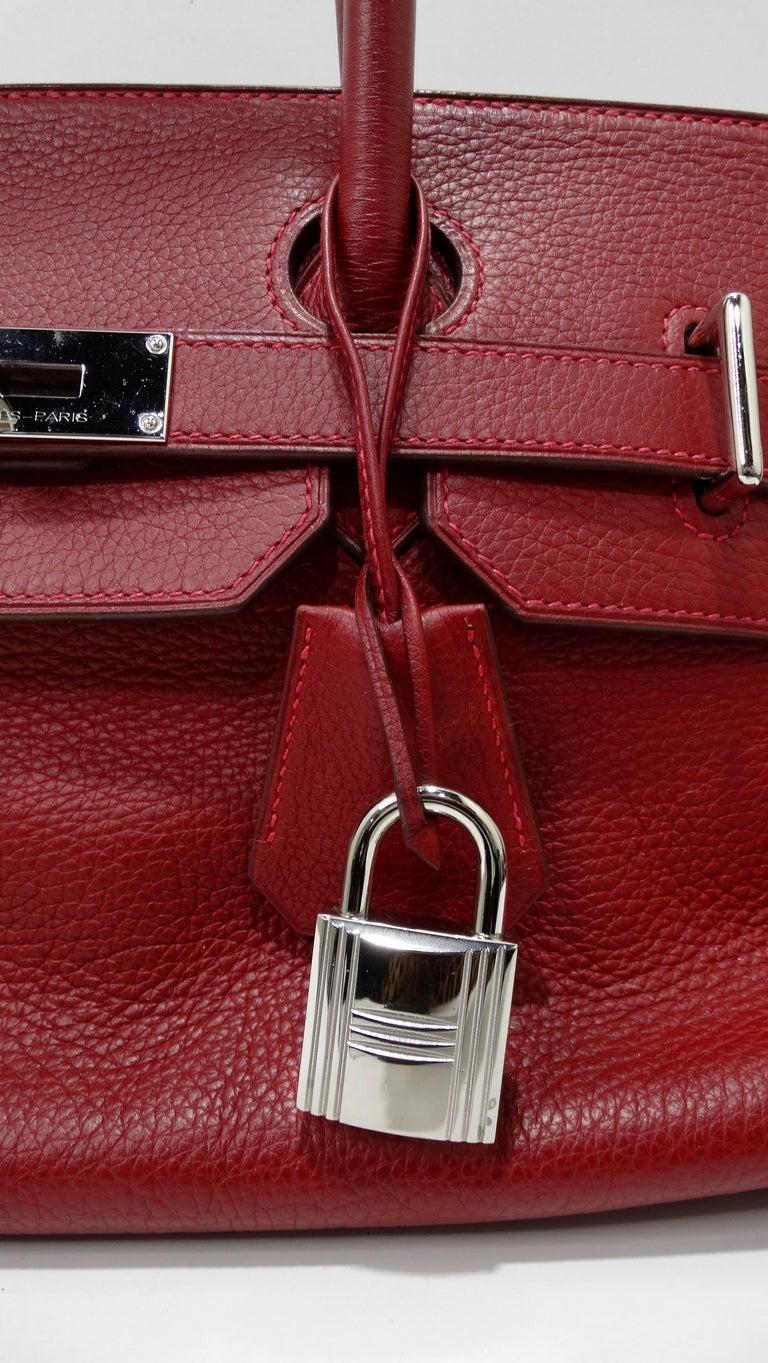 Hérmes 42cm Rouge Clemence JPG Shoulder Birkin  For Sale 5