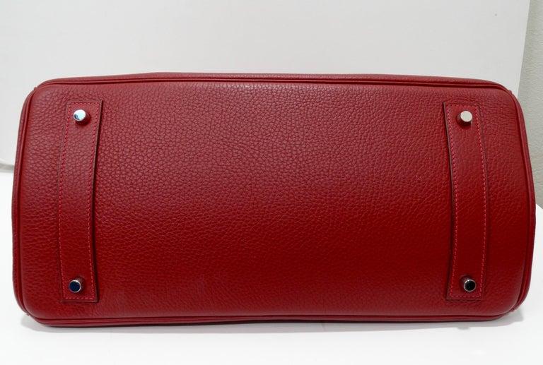 Hérmes 42cm Rouge Clemence JPG Shoulder Birkin  For Sale 6