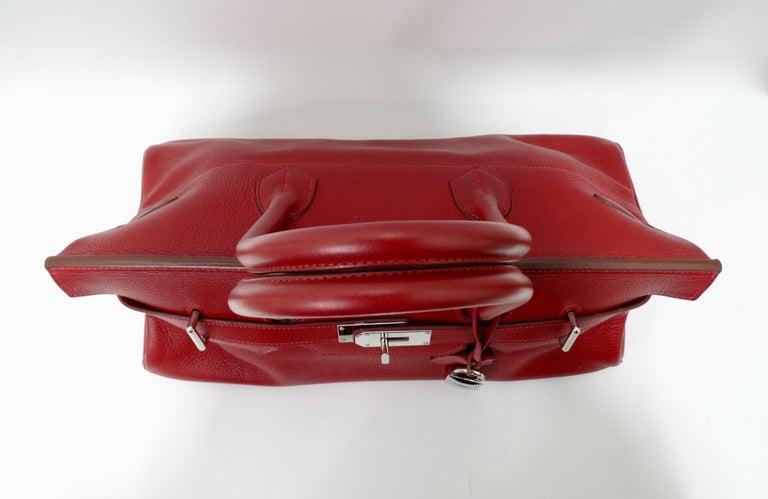 Hérmes 42cm Rouge Clemence JPG Shoulder Birkin  For Sale 7