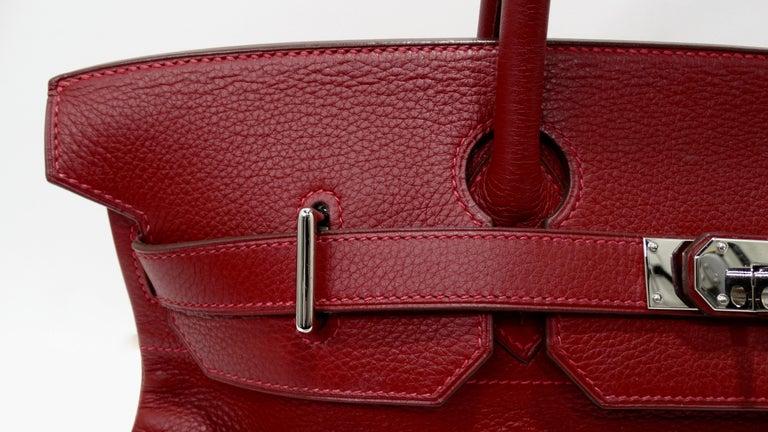 Hérmes 42cm Rouge Clemence JPG Shoulder Birkin  For Sale 8