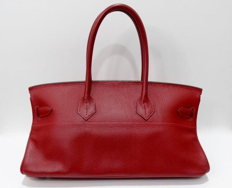 Hérmes 42cm Rouge Clemence JPG Shoulder Birkin  For Sale 9