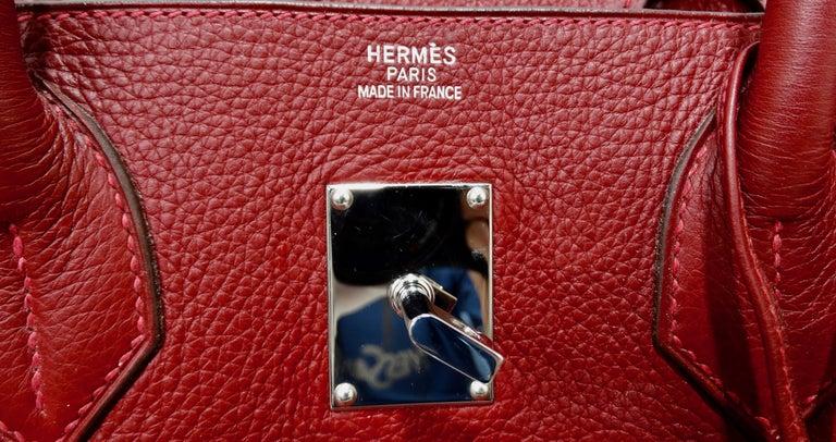 Hérmes 42cm Rouge Clemence JPG Shoulder Birkin  For Sale 10