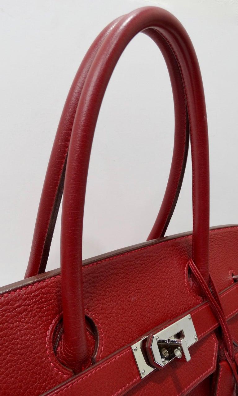 Hérmes 42cm Rouge Clemence JPG Shoulder Birkin  For Sale 11
