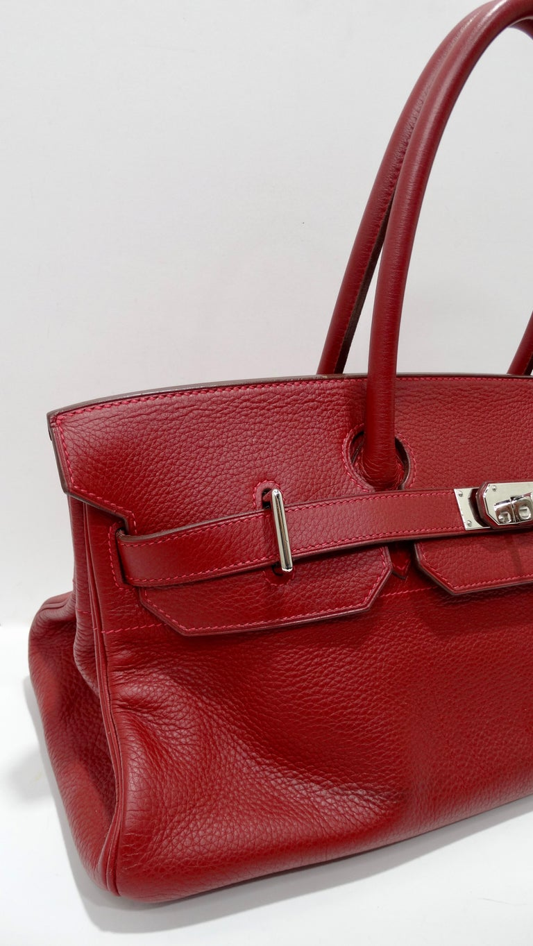 Hérmes 42cm Rouge Clemence JPG Shoulder Birkin  For Sale 12
