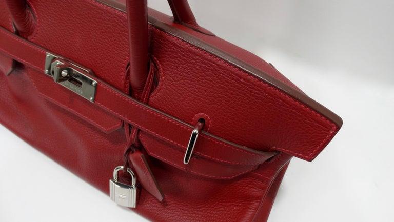Hérmes 42cm Rouge Clemence JPG Shoulder Birkin  For Sale 13