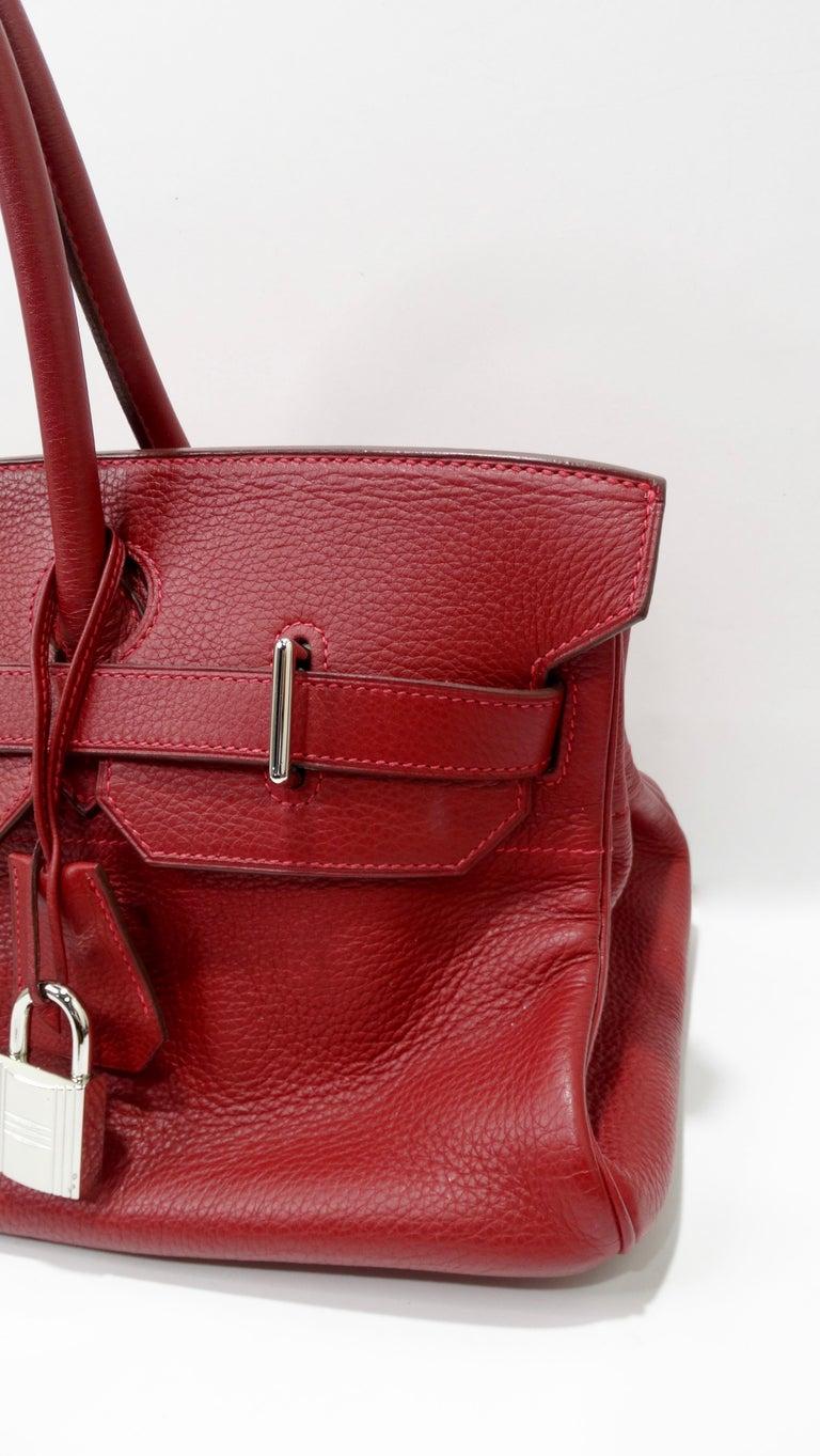 Red Hérmes 42cm Rouge Clemence JPG Shoulder Birkin  For Sale