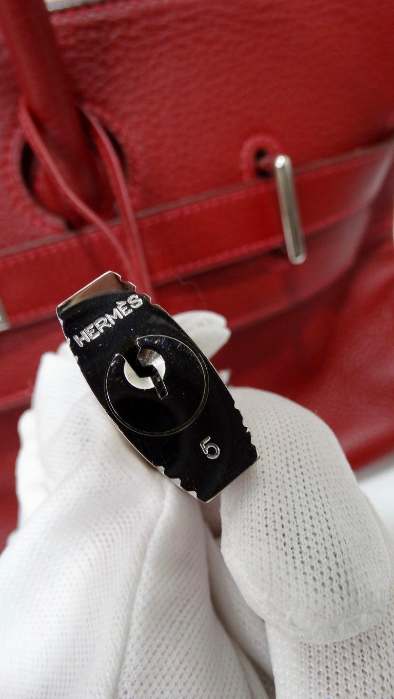 Hérmes 42cm Rouge Clemence JPG Shoulder Birkin  In Excellent Condition For Sale In Scottsdale, AZ