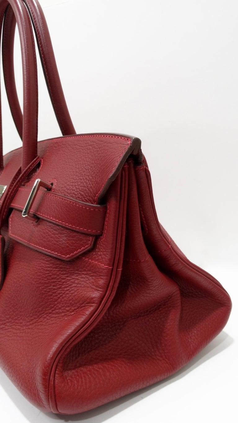 Women's or Men's Hérmes 42cm Rouge Clemence JPG Shoulder Birkin  For Sale