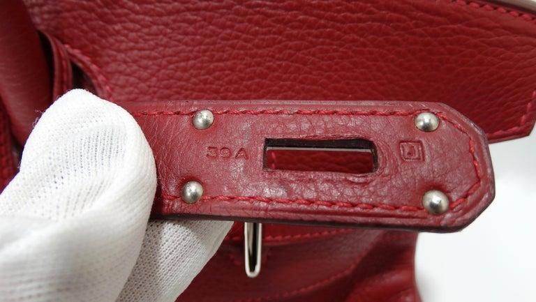 Hérmes 42cm Rouge Clemence JPG Shoulder Birkin  For Sale 1
