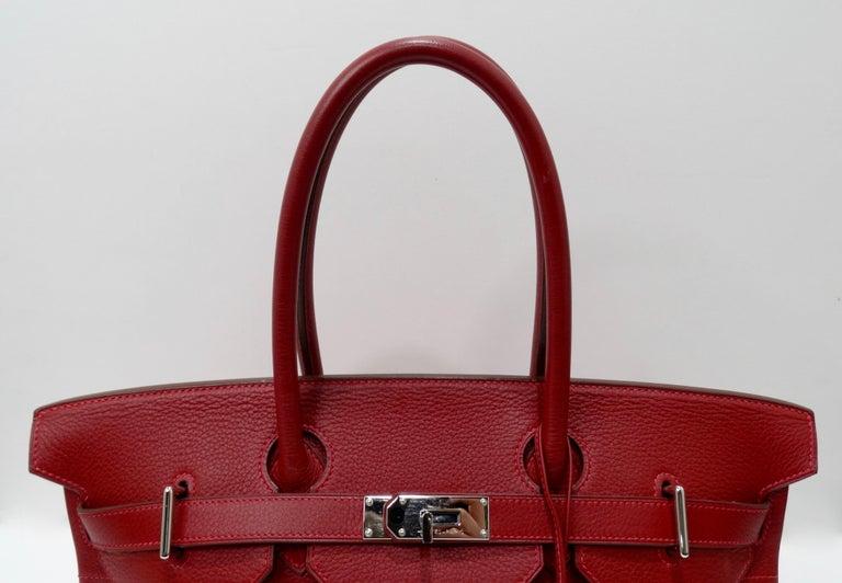 Hérmes 42cm Rouge Clemence JPG Shoulder Birkin  For Sale 2