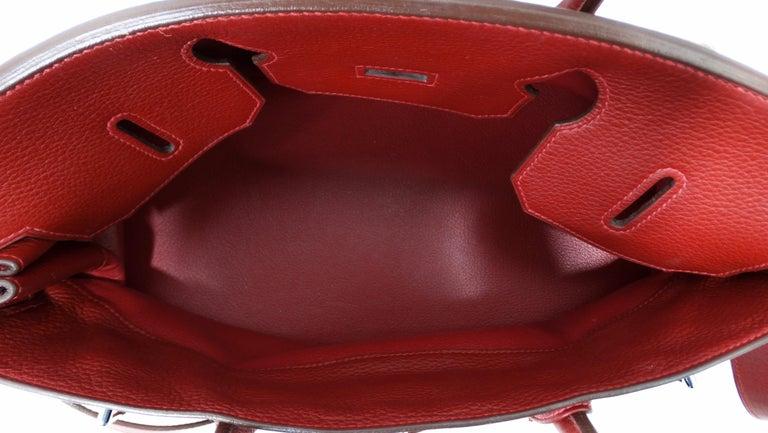 Hérmes 42cm Rouge Clemence JPG Shoulder Birkin  For Sale 3