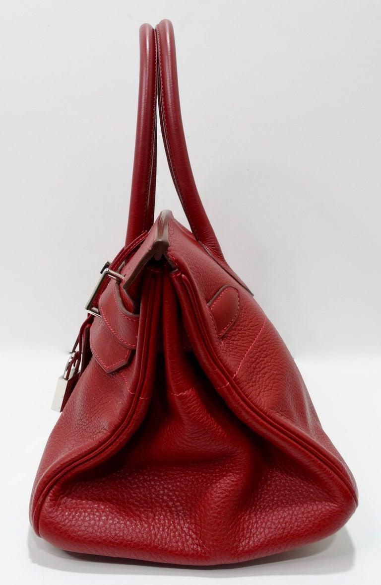Hérmes 42cm Rouge Clemence JPG Shoulder Birkin  For Sale 4