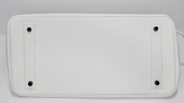 Hérmes 42cm White Clemence JPG Shoulder Birkin  For Sale 7