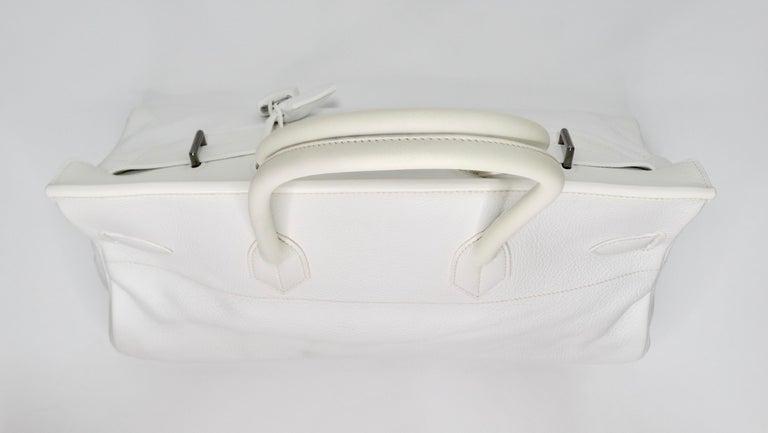 Hérmes 42cm White Clemence JPG Shoulder Birkin  For Sale 8